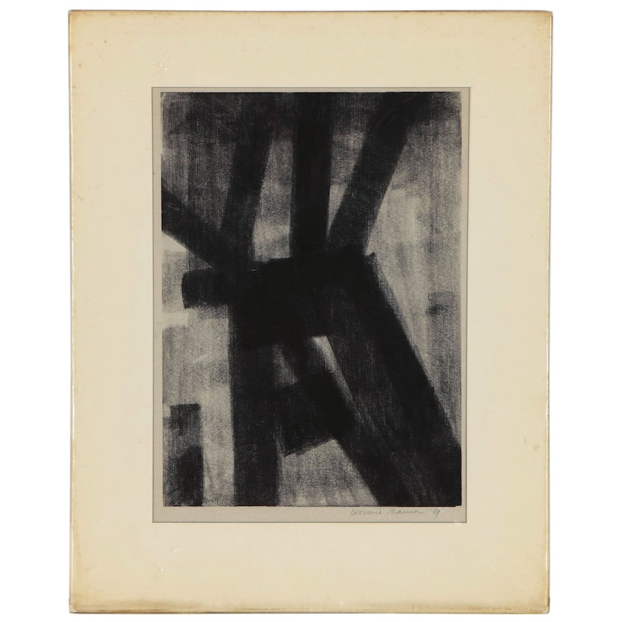 Leonard Maurer Abstract Monotype Drawing, 1969
