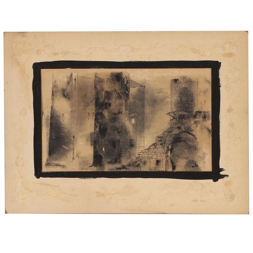 "Leonard Maurer Ink Drawing ""The Dark Towers"", 1951"