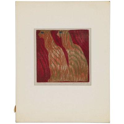 "Leonard Maurer Modernist Woodcut of Cats ""Two"", 1970"