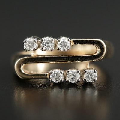 14K Gold Diamond Geometric Ring