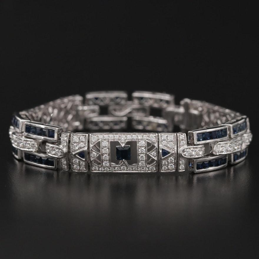 18K Sapphire and 3.65 CTW Diamond Link Bracelet