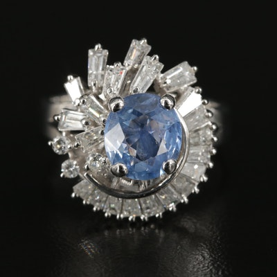 10K 2.12 CT Sapphire and 1.23 CTW Diamond Ring with GIA Report