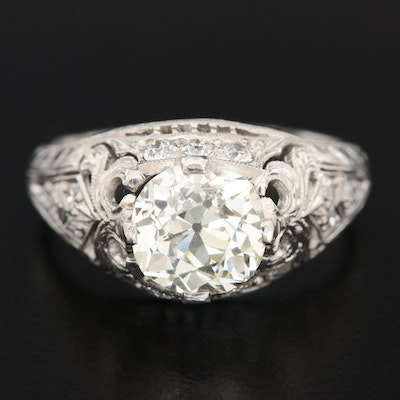 Vintage Platinum 2.03 CTW Diamond Ring