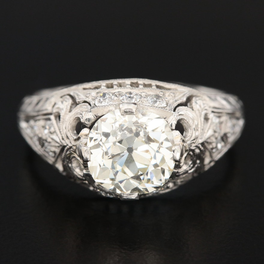 Vintage Platinum 2.03 CTW Diamond Ring