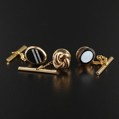 14K Yellow Gold Opal, Black Onyx and Mother of Pearl Tie Tacks