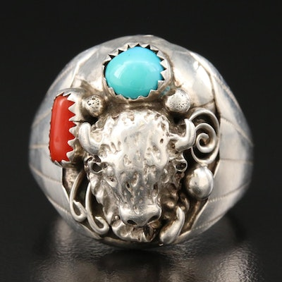 Signed Southwestern Style Sterling Coral and Turquoise Ring