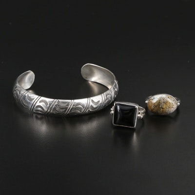 Sterling Southwestern Cuff Bracelet With Navajo Diné Obsidian and Jasper Rings