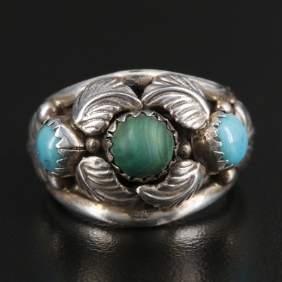 Signed Southwestern Style Sterling Silver Malachite and Turquoise Ring