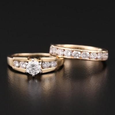 14K Yellow Gold 1.66 CTW Diamond Ring Set
