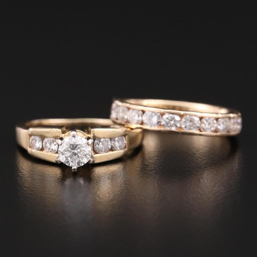 14K Yellow Gold 1.66 CTW Diamond Ring Set