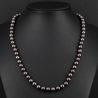 Knotted Pearl Necklace With 14K White Gold Clasp