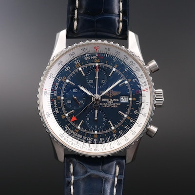 Breitling Navitimer World Chronograph Stainless Steel Automatic Wristwatch