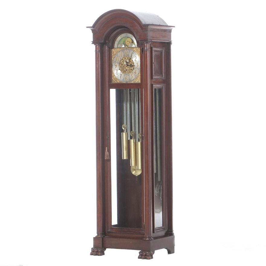 Mahogany Grandfather Clock, Retailed by Oskamp Jewelry Company, Cincinnati