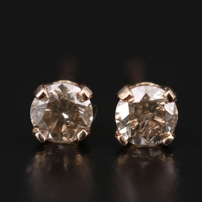 14K Yellow Gold 0.30 CTW Diamond Solitaire Stud Earrings