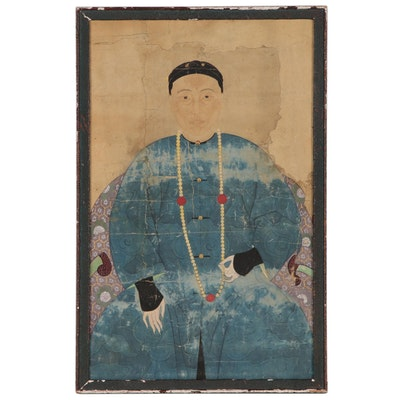 Qing Dynasty Chinese Ancestral Portrait Painting