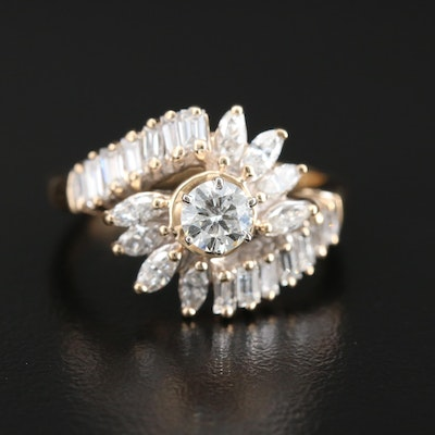 14K Yellow Gold 1.18 CTW Diamond Ring with GIA Report
