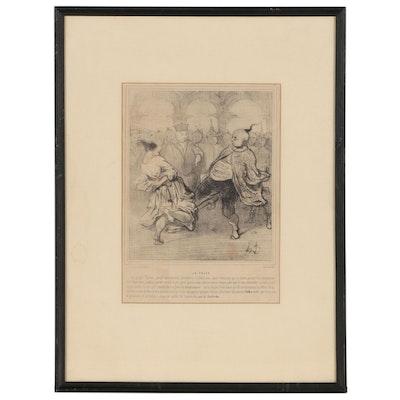 """Honoré Daumier Lithograph """"La Polka"""", 1844"""