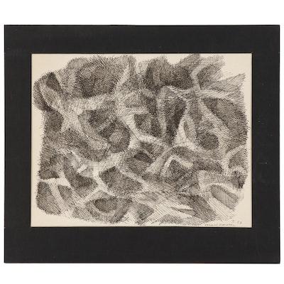 Leonard Maurer Abstract Ink Drawing, 1958