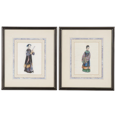 Antique Chinese Female Figure Gouache Paintings on Pith Paper, 19th Century