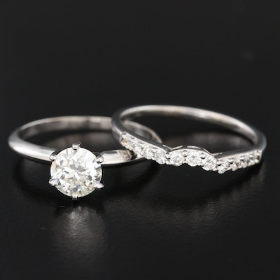 1.15 CTW 18K White Gold Diamond Band and 14K Diamond Solitaire Ring