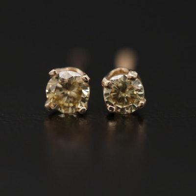 14K Yellow Gold 0.20 CTW Diamond Solitaire Studs