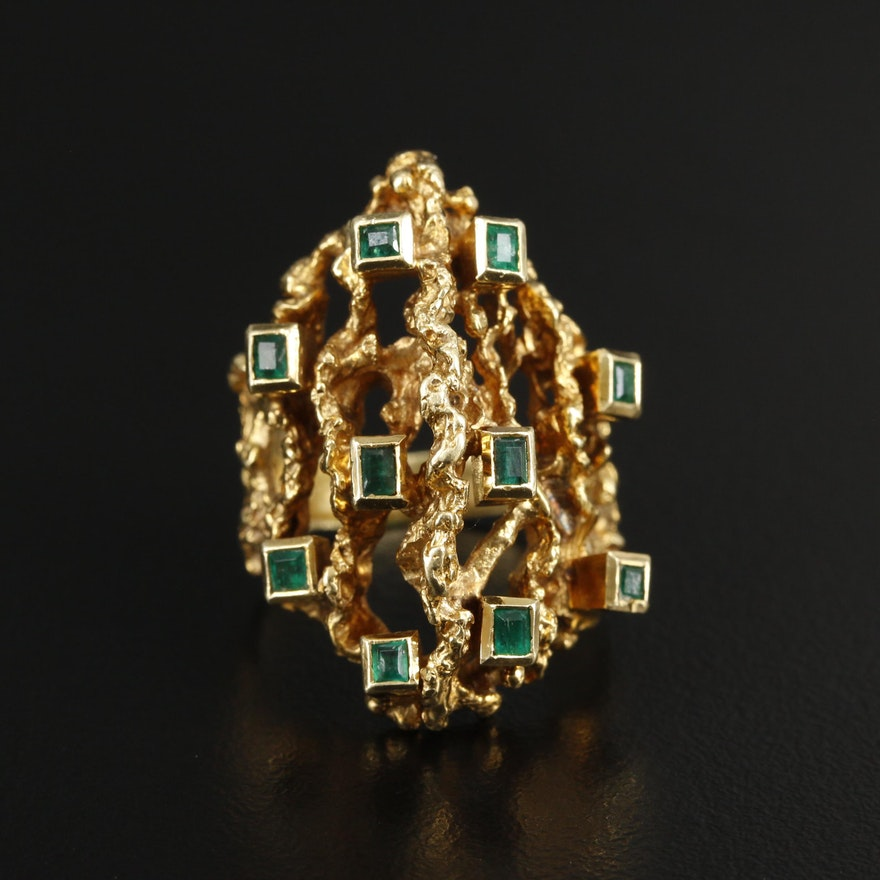 18K Gold Emerald Biomorphic Ring