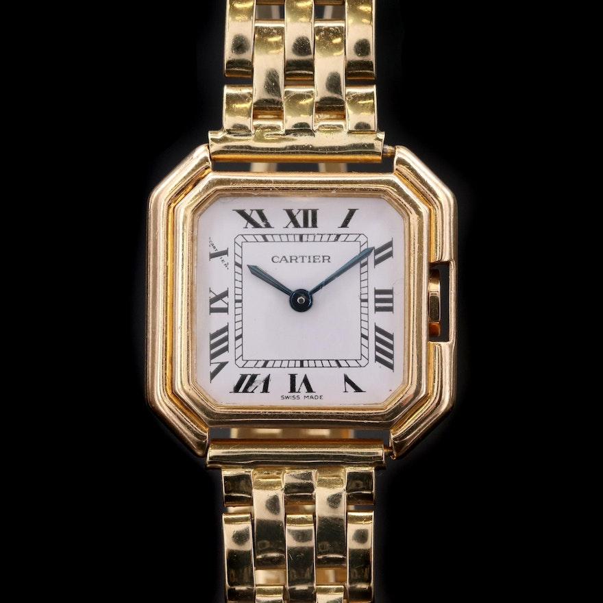 18K Gold Cartier Ceinture Wristwatch, Vintage