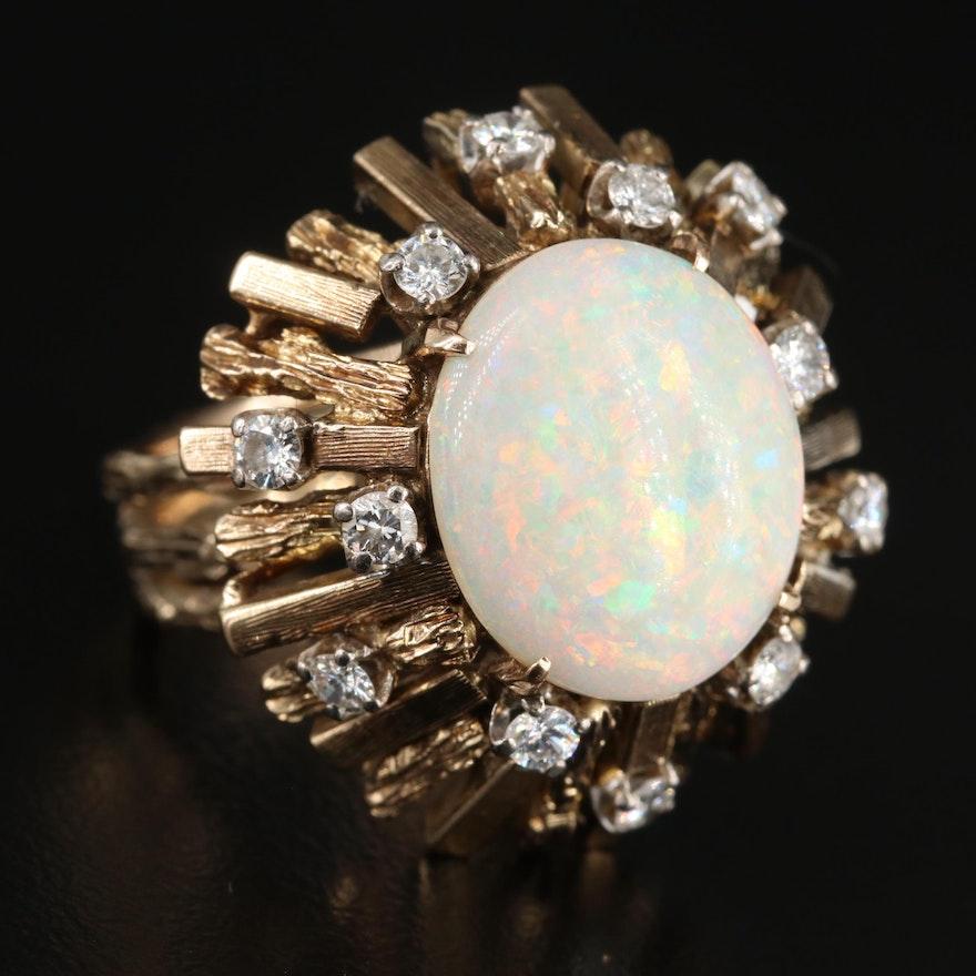 Circa 1970s 14K Yellow Gold Opal and Diamond Ring Featuring Natural Motif