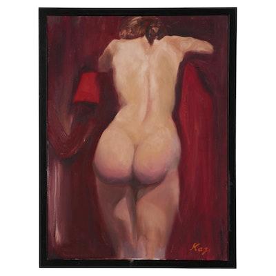 """Kaz Ooka Oil Painting """"Peachy Butt"""", 2001"""