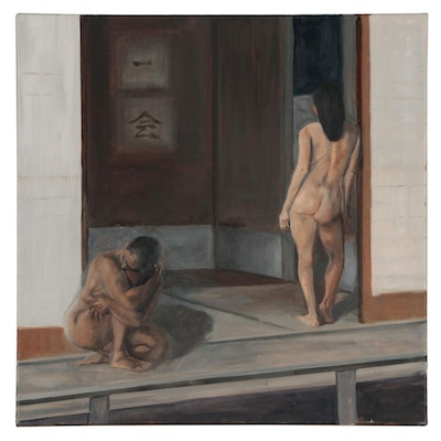 """Kaz Ooka Oil Painting """"Premonition of Parting no.2"""""""