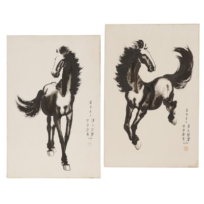Chinese Ink Wash Horse Paintings