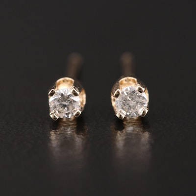 14K Yellow Gold 0.10 CTW Diamond Solitaire Earrings