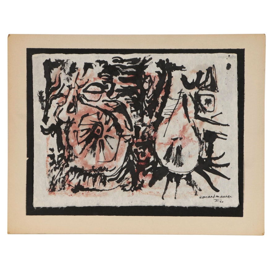 """Leonard Maurer Abstract Ink and Watercolor Painting """"VI"""", 1960"""