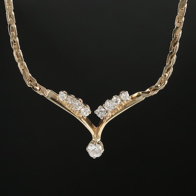 14K Yellow Gold Diamond Stationary Pendant Serpentine Necklace