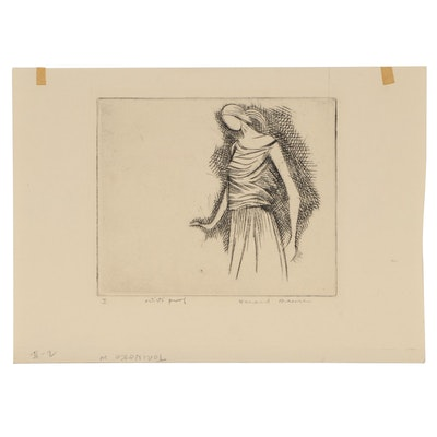 Leonard Maurer Figural Etching, Mid 20th Century
