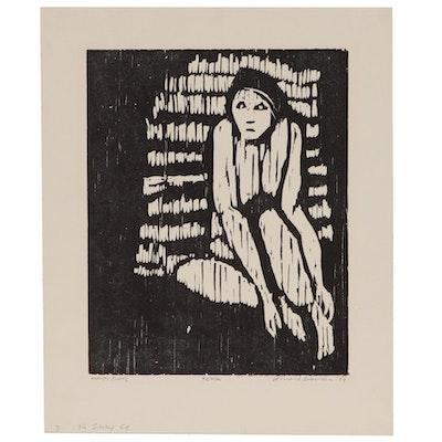 "Leonard Maurer Woodcut ""Fear,""1969"