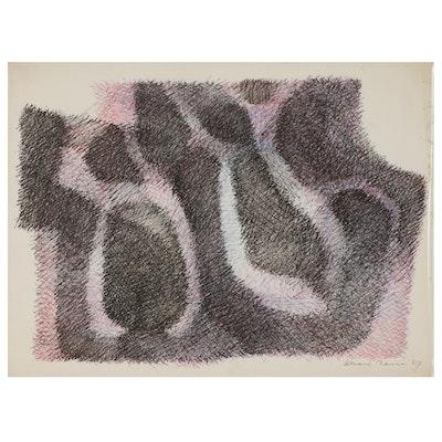 Leonard Maurer Abstract Ink Drawing, 1967