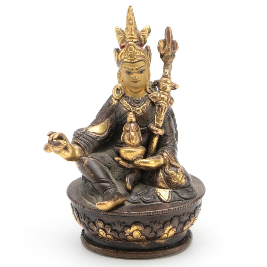 Tibetan Buddhist Gilt Bronze Figure of Padmasambhava