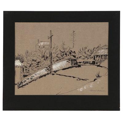 Leonard Maurer Embellished Ink Drawing of Street Scene, 1955