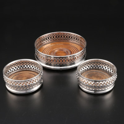 Three English Silver-Plate Bottle Coasters, Mid-20th Century