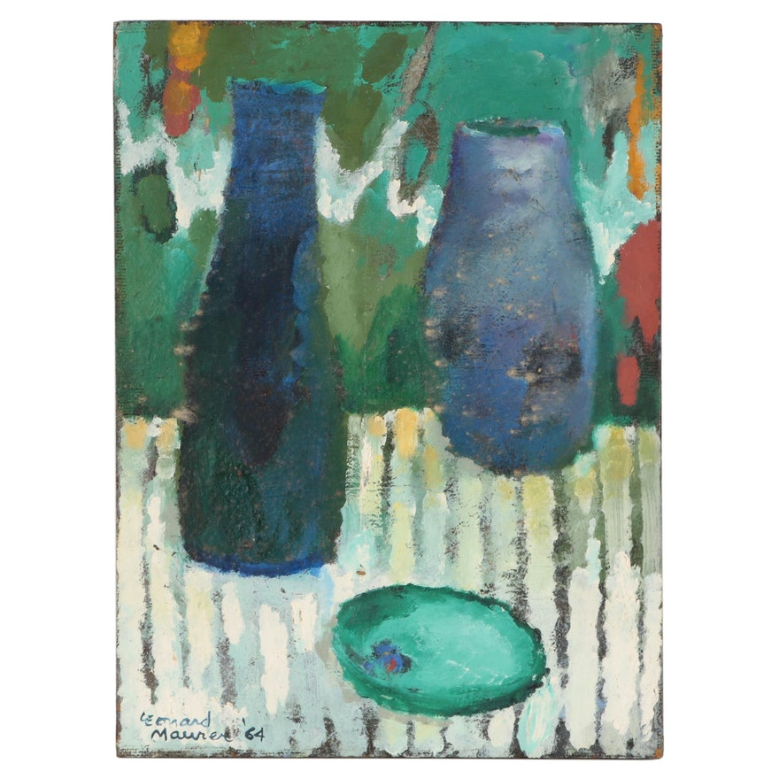 Leonard Maurer Modernist Still Life Oil Painting