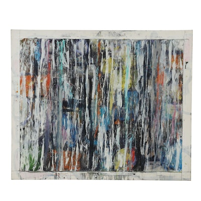 """Richard Snyder Monumental Abstract Oil Painting """"Bodega Bay"""""""