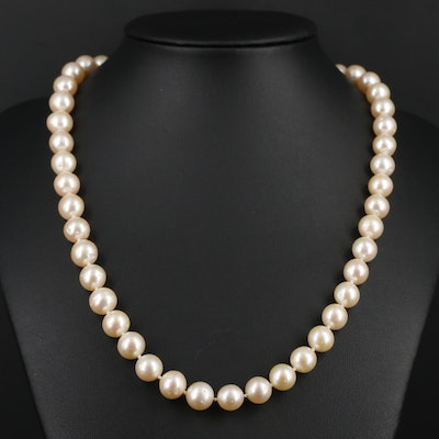 Knotted Strand of Pearls with 14K Yellow Gold Clasp