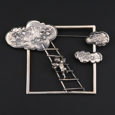 "Vintage E. Held Sterling Silver ""Stairway To Heaven"" Brooch"
