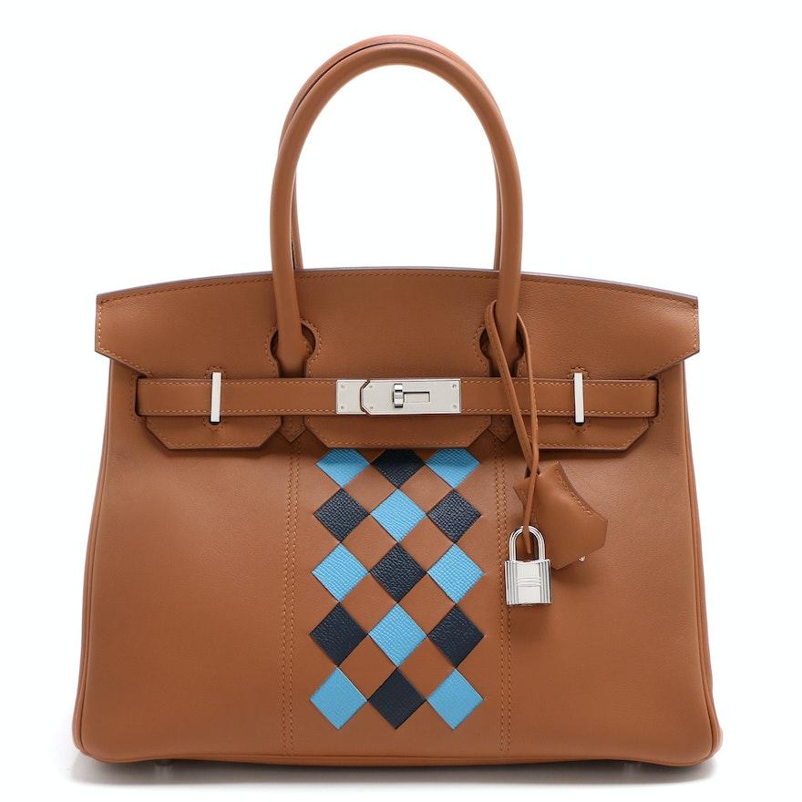 Hermès Birkin 30 Tressage Gold Swift and Epsom Leather Satchel