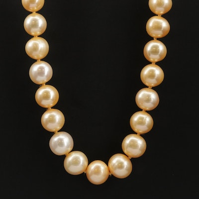 Yellow Orange Pearl Necklace with 14K Gold Clasp