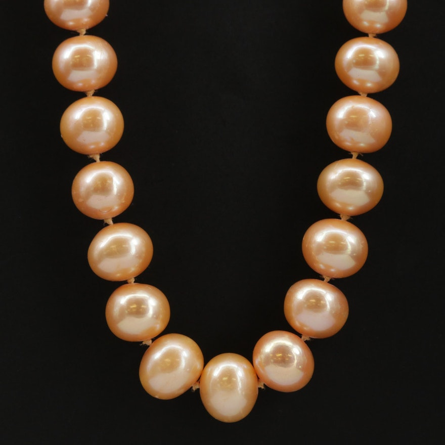 Strand of Orange Pearls with 14K Yellow Gold Clasp
