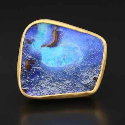 Signed 22K Boulder Opal Ring