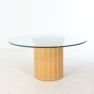Glass Top Columnar Oak Pedestal Dining Table, Late 20th Century