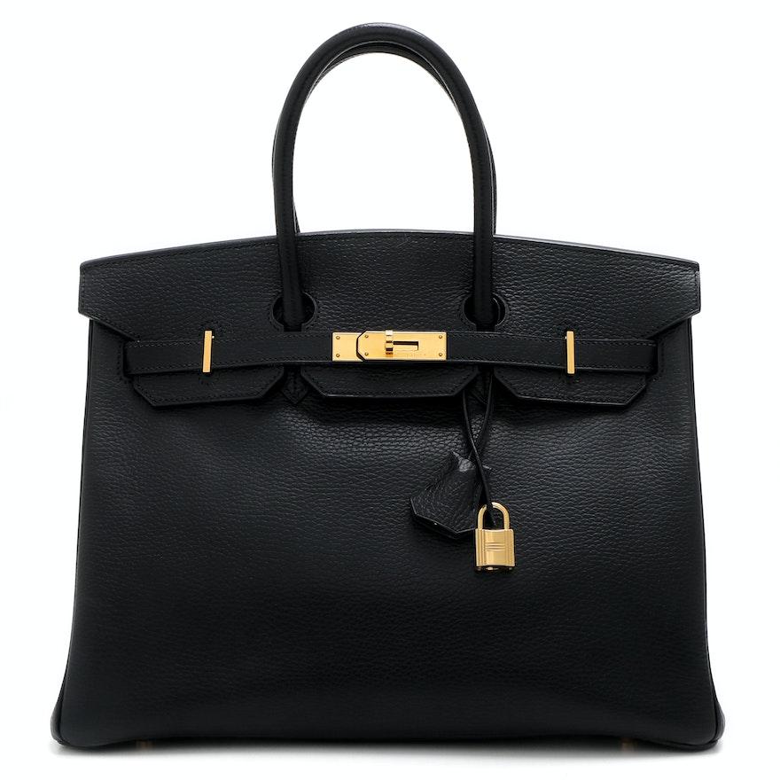 Hermès Birkin 35 Noir Ardennes Leather Satchel